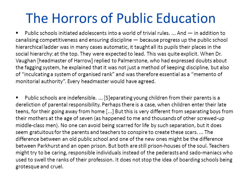 The Horrors of Public Education
