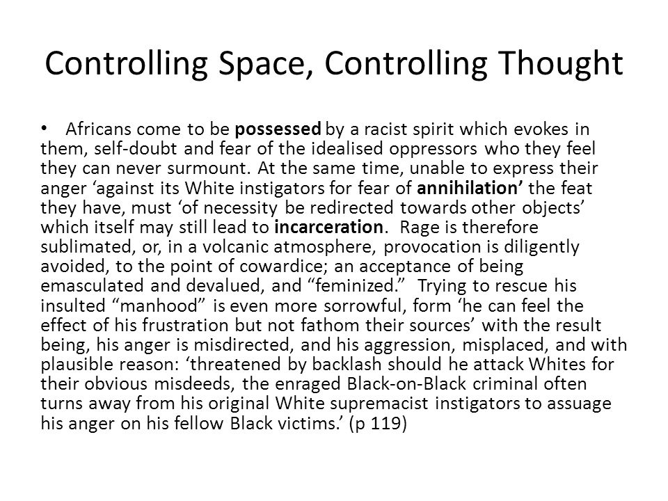 Controlling Space, Controlling Thought
