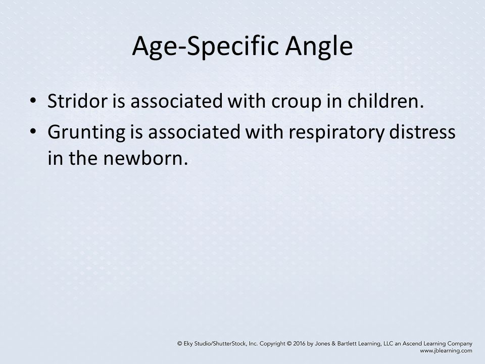 Age-Specific Angle Stridor is associated with croup in children.