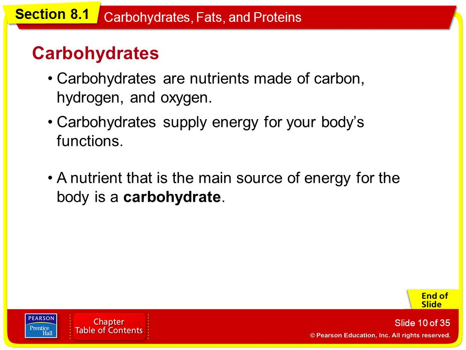 Carbohydrates Carbohydrates are nutrients made of carbon, hydrogen, and oxygen. Carbohydrates supply energy for your body's functions.