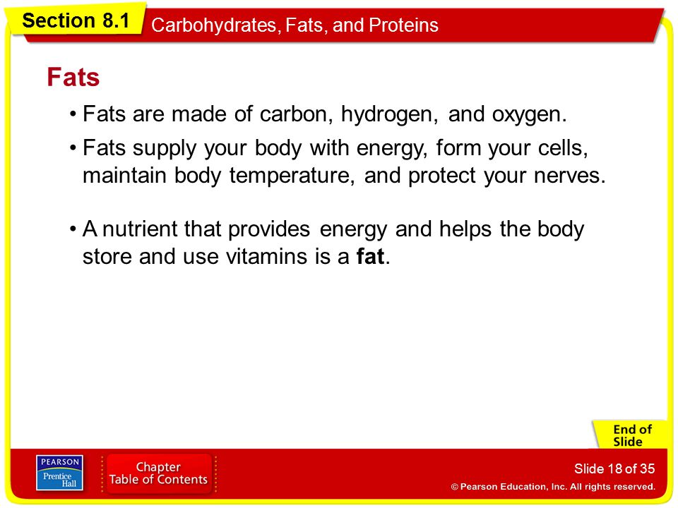 Fats Fats are made of carbon, hydrogen, and oxygen.