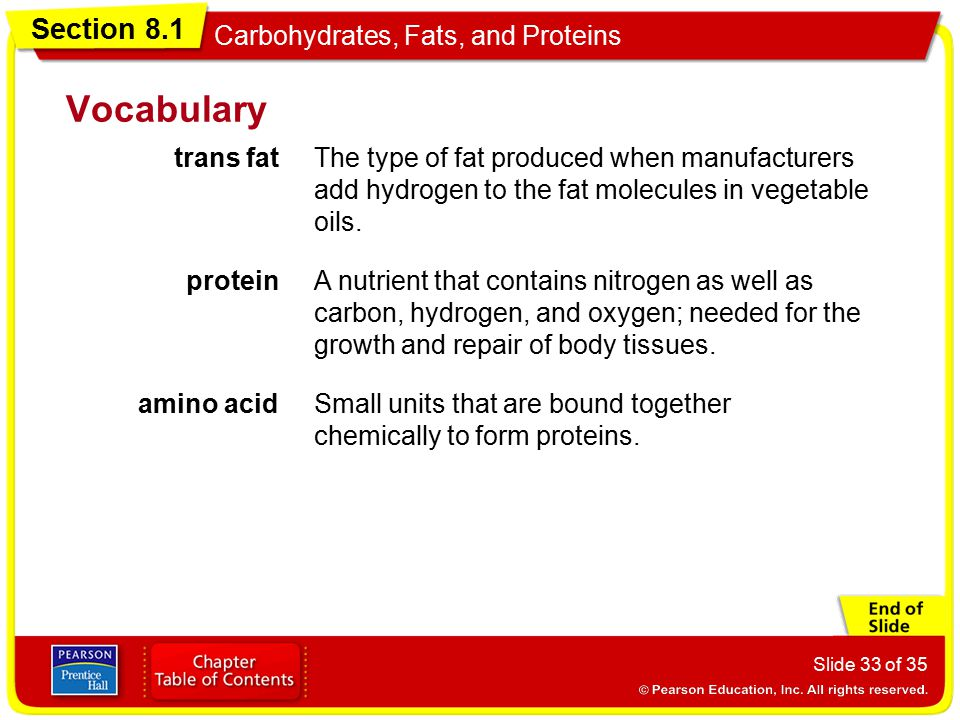 Vocabulary trans fat. The type of fat produced when manufacturers add hydrogen to the fat molecules in vegetable oils.