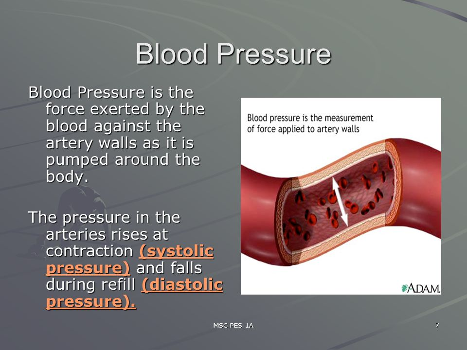 Blood Pressure Blood Pressure is the force exerted by the blood against the artery walls as it is pumped around the body.