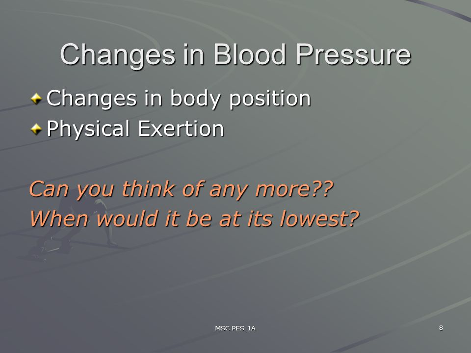 Changes in Blood Pressure