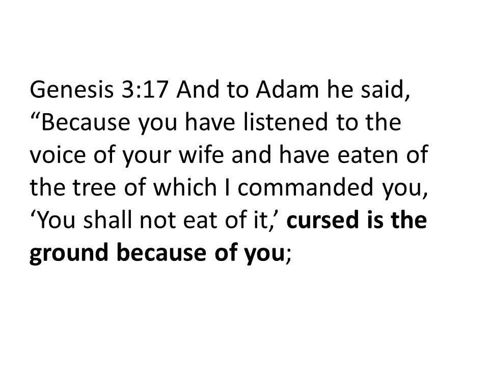 Genesis 3:17 And to Adam he said, Because you have listened to the voice of your wife and have eaten of the tree of which I commanded you, 'You shall not eat of it,' cursed is the ground because of you;