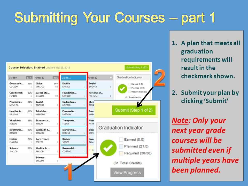 Submitting Your Courses – part 1
