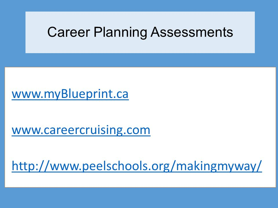 Career Planning Assessments