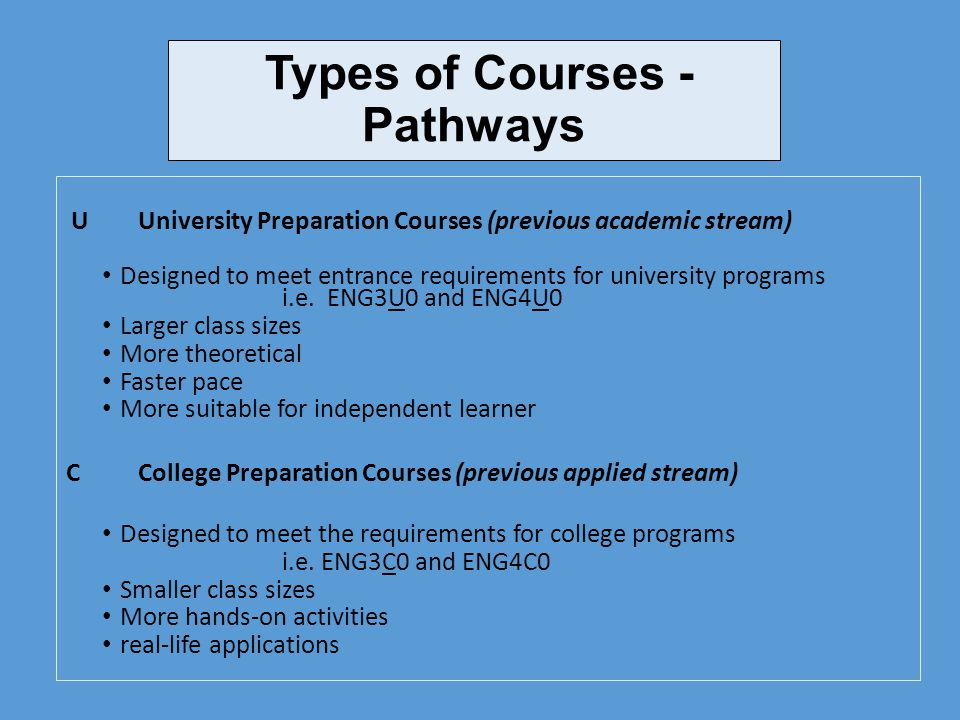 Types of Courses - Pathways