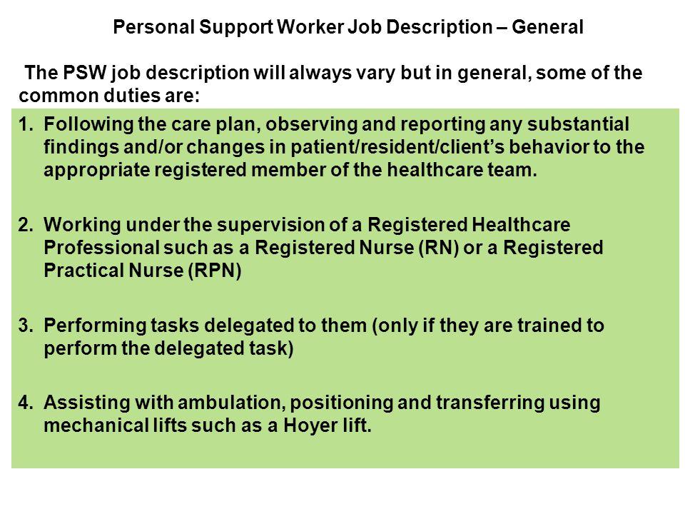 support worker job description