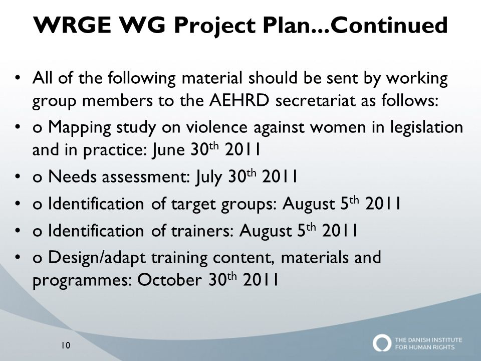 WRGE WG Project Plan...Continued