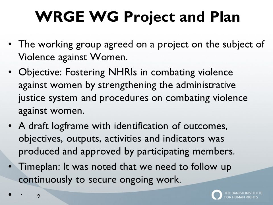 WRGE WG Project and Plan