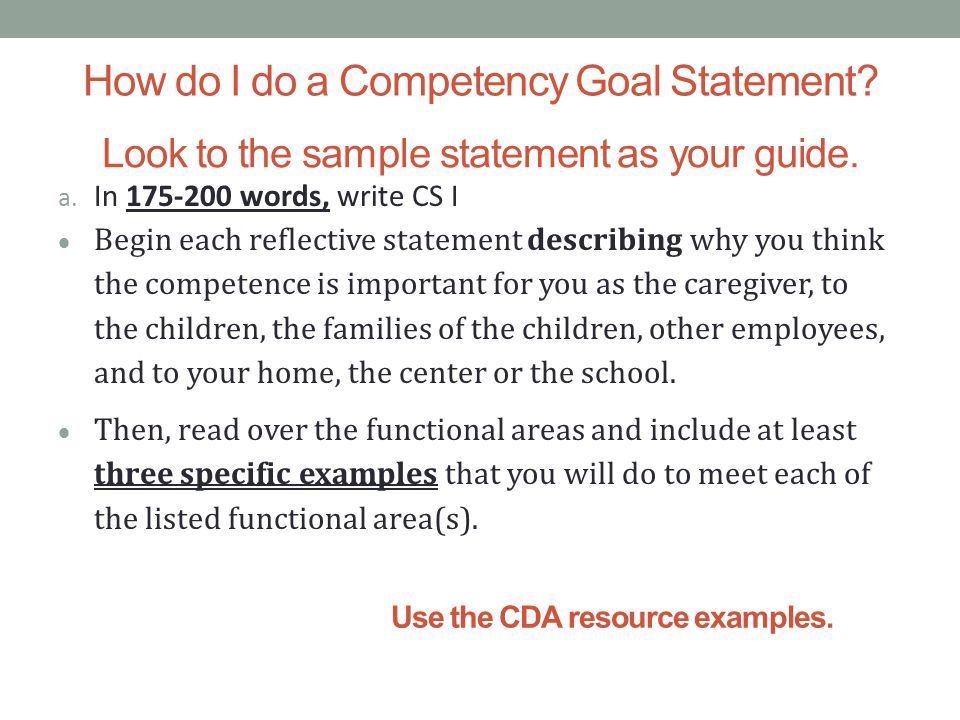 fccpc statement of competence 1 Fully prepares you for the cda assessment (preschool or infant/toddler) – the content of ecda is based on the national cda competency standards provided below:.