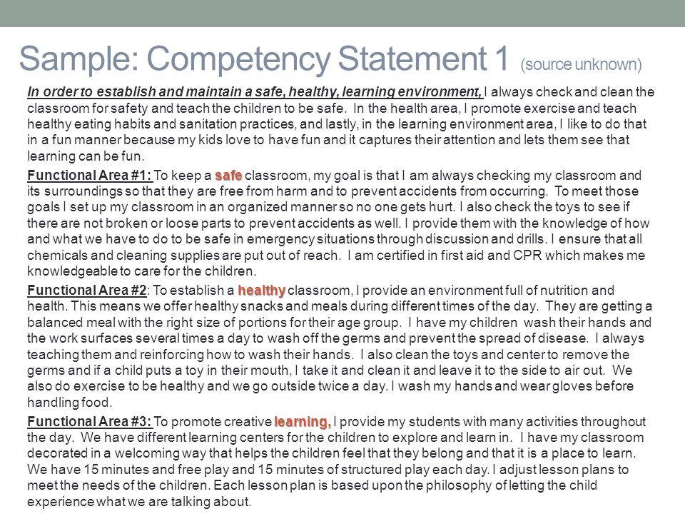 cda goal 2 competency statement 1 competency essays cda goal through 30 -performance excellence categories-performance excellence resources  cda goal 2 - competency statement.