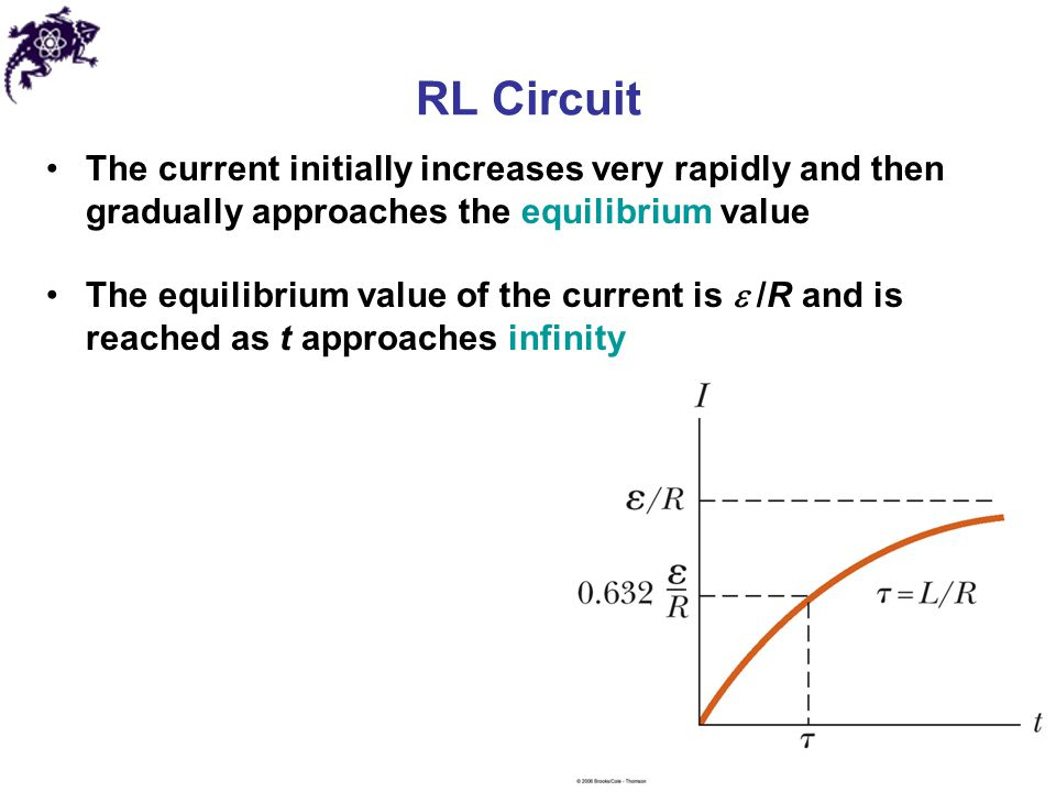 RL Circuit The current initially increases very rapidly and then gradually approaches the equilibrium value.