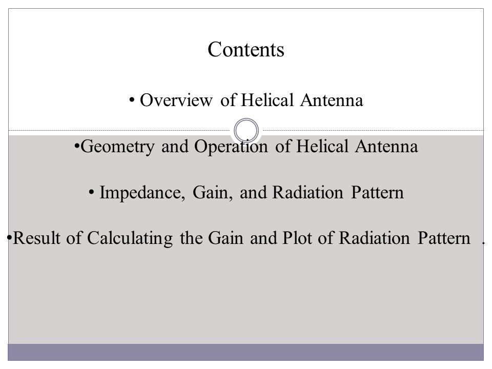 Contents Overview of Helical Antenna