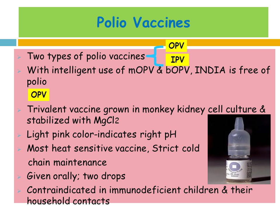 Polio Vaccines Two types of polio vaccines