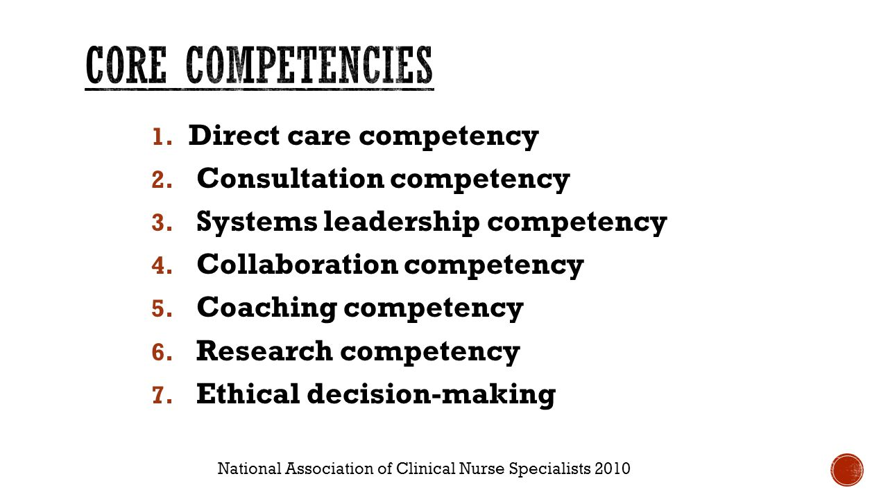 Clinical nurse specialist clinical experience ppt video online cns patient care nursing systems definition 4 core competencies xflitez Gallery