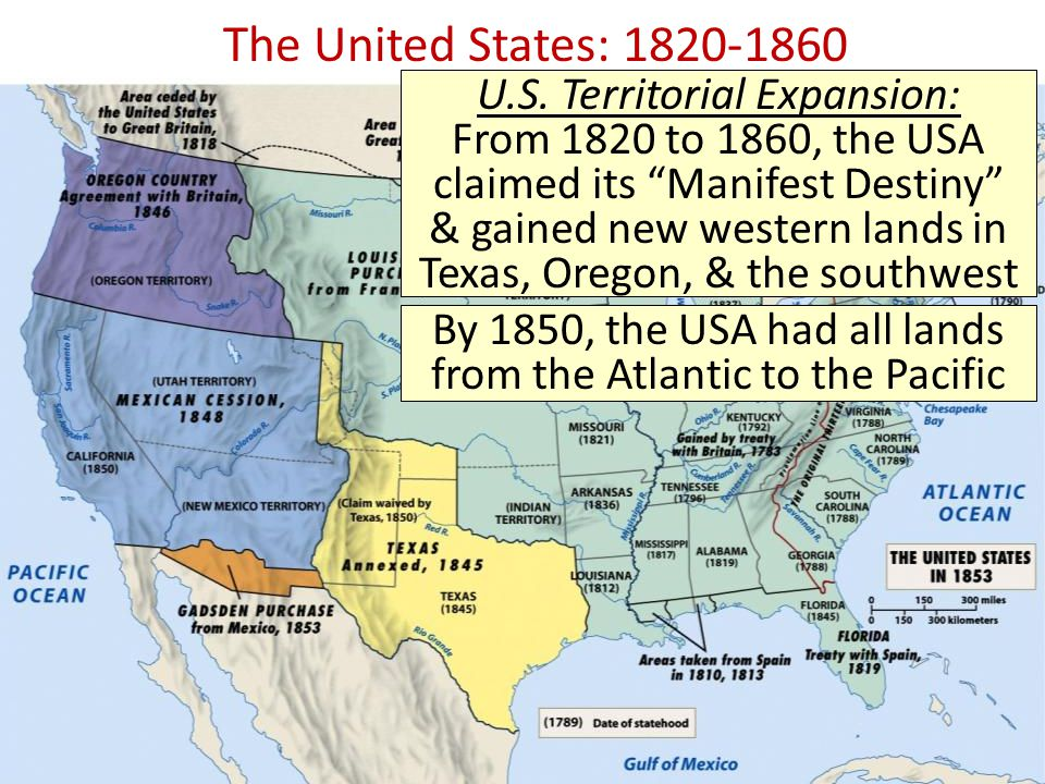 by 1850 the usa had all lands from the atlantic to the pacific