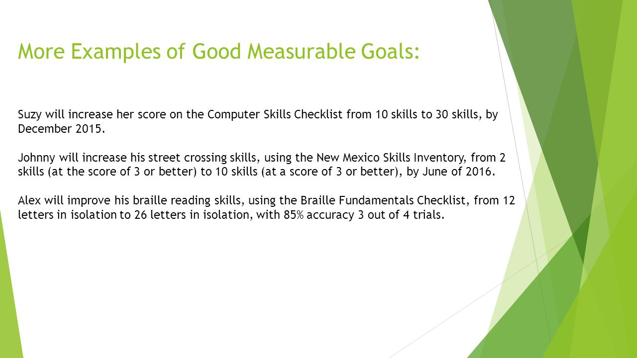 creating measurable goals using checklists