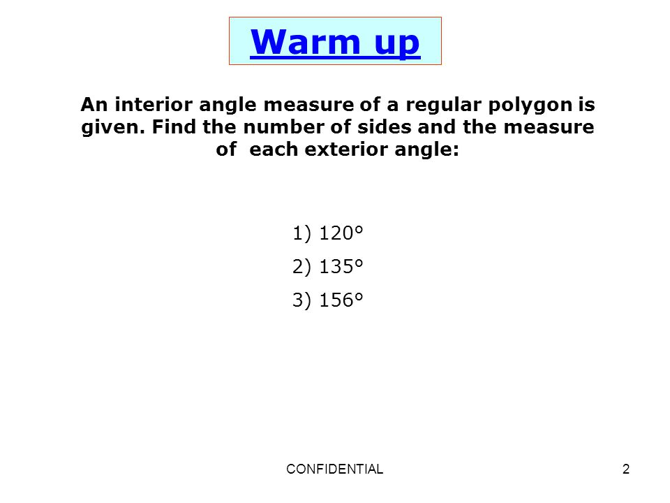 Properties of parallelogram ppt download - Find exterior angle of a polygon ...