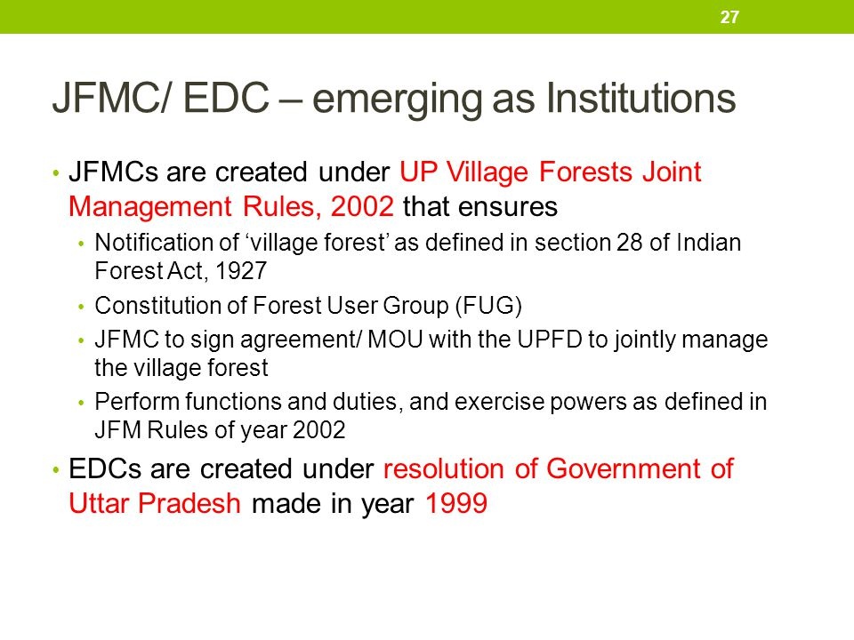 JFMC/ EDC – emerging as Institutions