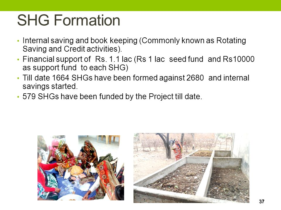 SHG Formation Internal saving and book keeping (Commonly known as Rotating Saving and Credit activities).