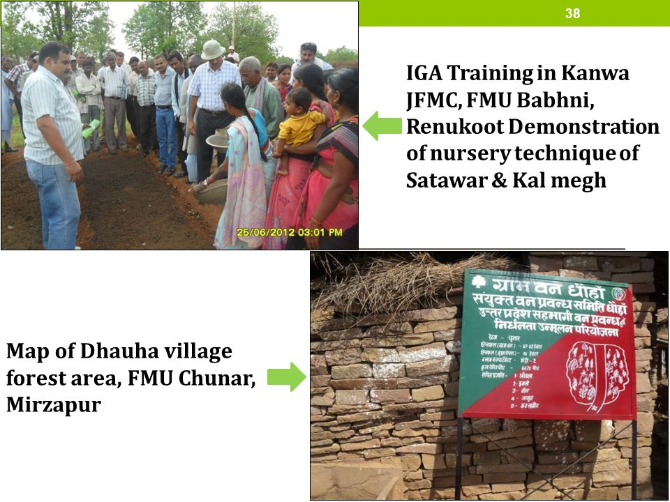 IGA Training in Kanwa JFMC, FMU Babhni, Renukoot Demonstration of nursery technique of Satawar & Kal megh