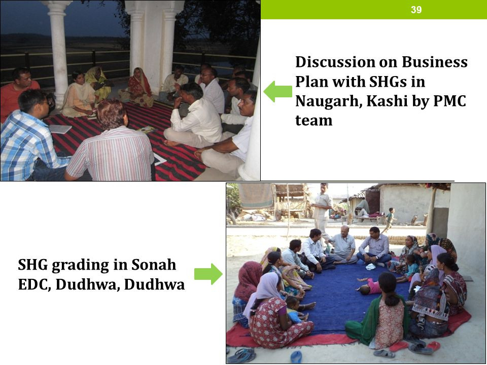 Discussion on Business Plan with SHGs in Naugarh, Kashi by PMC team