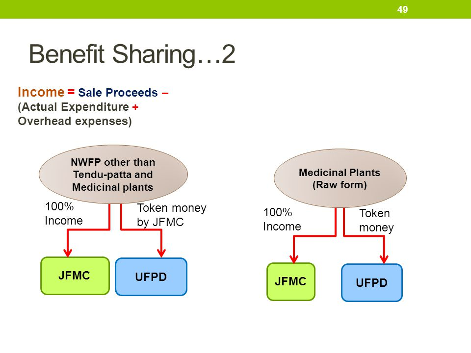 Benefit Sharing…2 Income = Sale Proceeds – (Actual Expenditure + Overhead expenses) NWFP other than Tendu-patta and Medicinal plants.