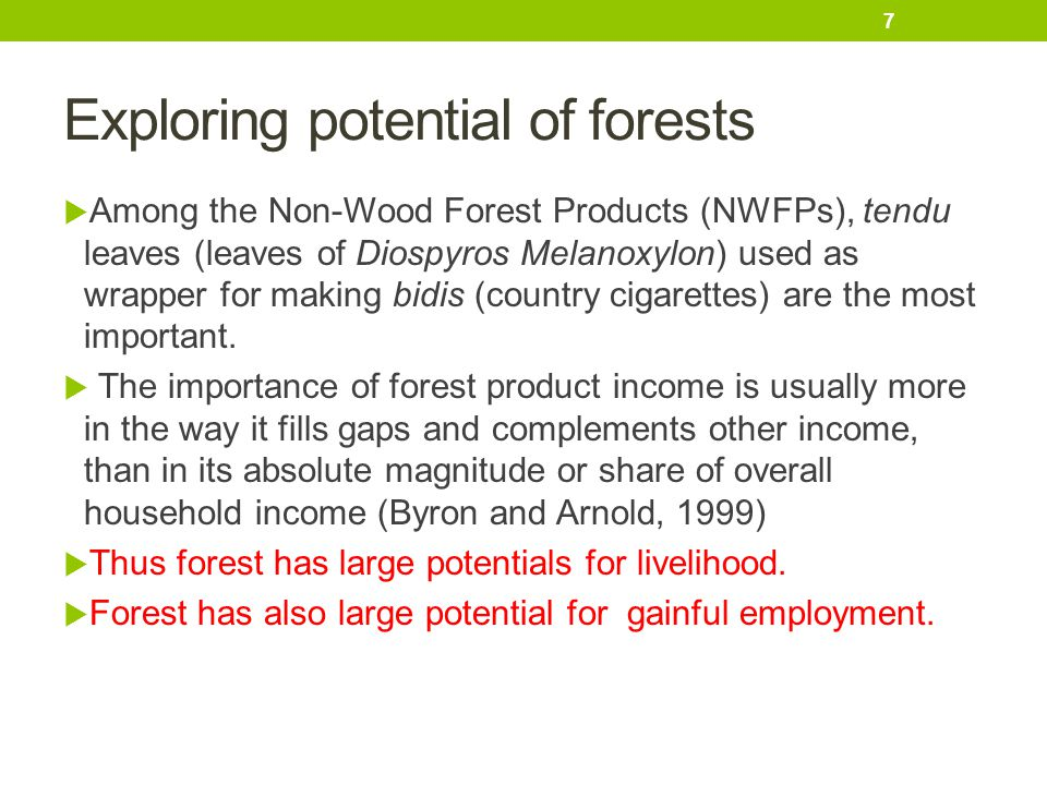 Exploring potential of forests