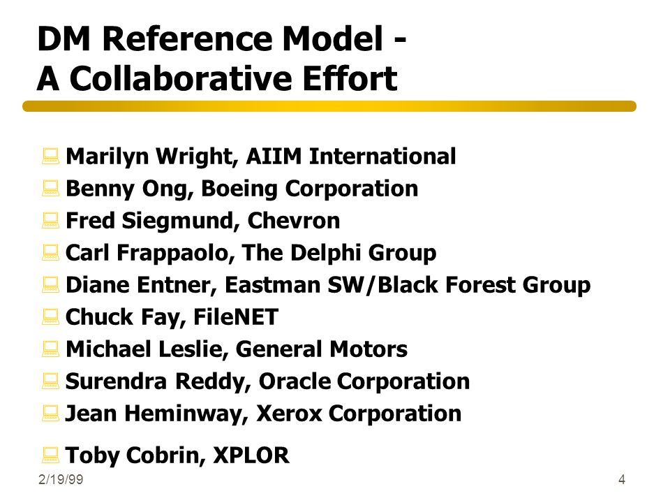 DM Reference Model - A Collaborative Effort