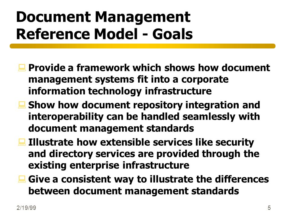 Document Management Reference Model - Goals