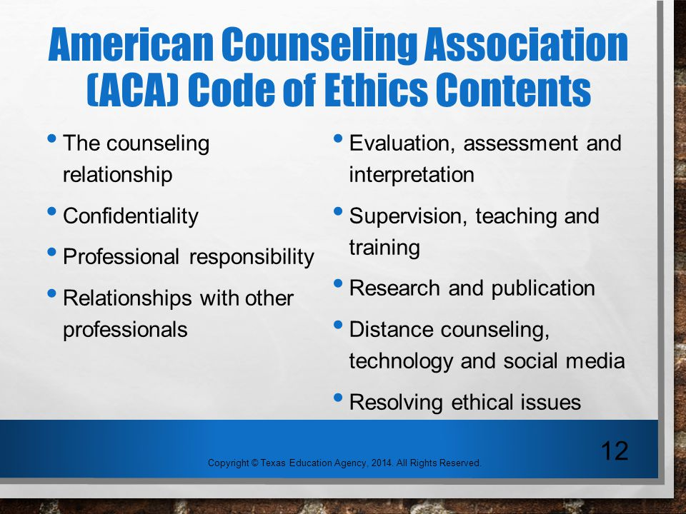 ethics confidentiality in counseling Asca code of ethics asca's ethical standards for school counselors were adopted to understand the limits of confidentiality and ethical standards for.