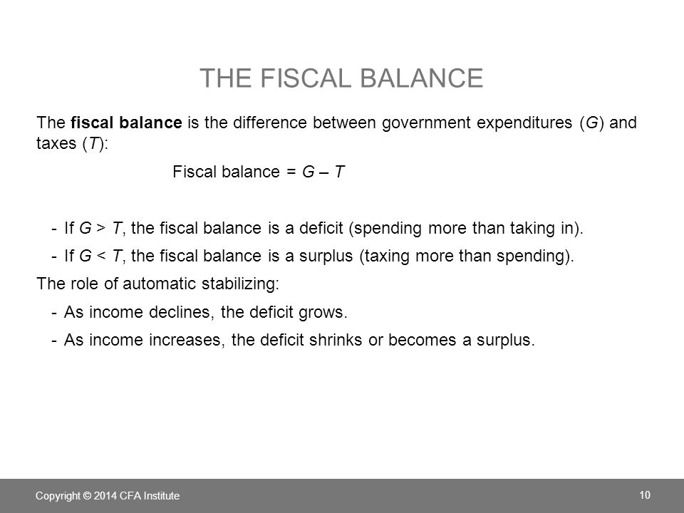 The Fiscal balance The fiscal balance is the difference between government expenditures (G) and taxes (T):
