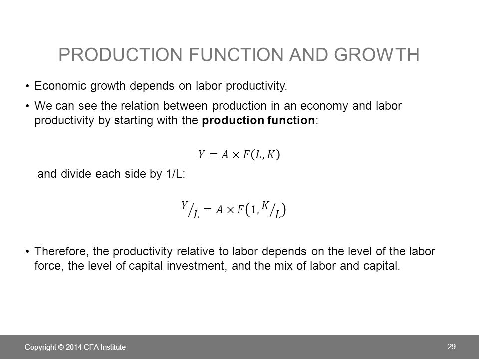 Production Function and Growth