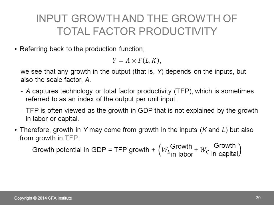 Input growth and the growth of total factor productivity