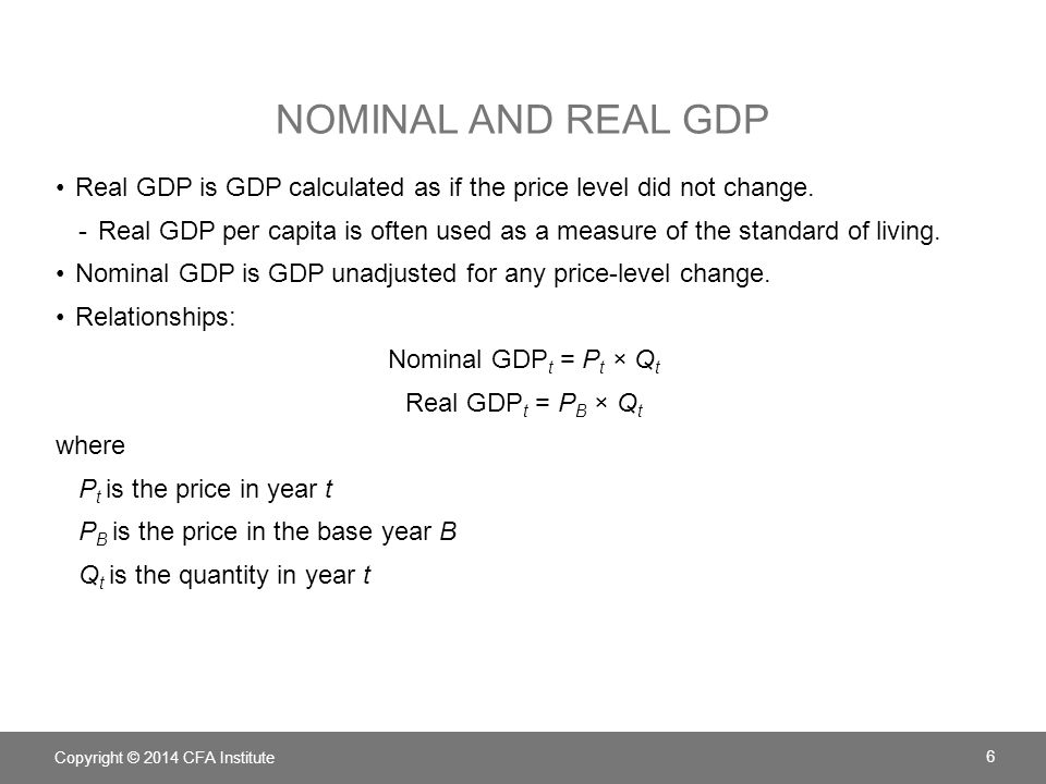 Nominal and real GDP Real GDP is GDP calculated as if the price level did not change.