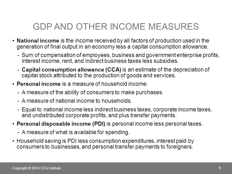 GDP and other income measures
