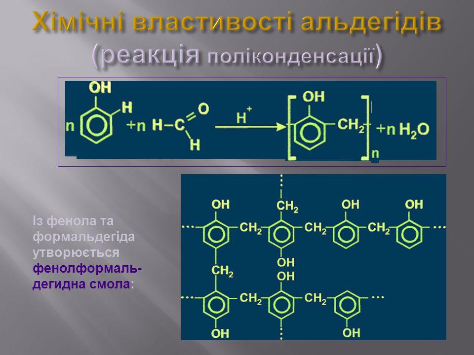 Хімічні властивості альдегідів (реакція поліконденсації)