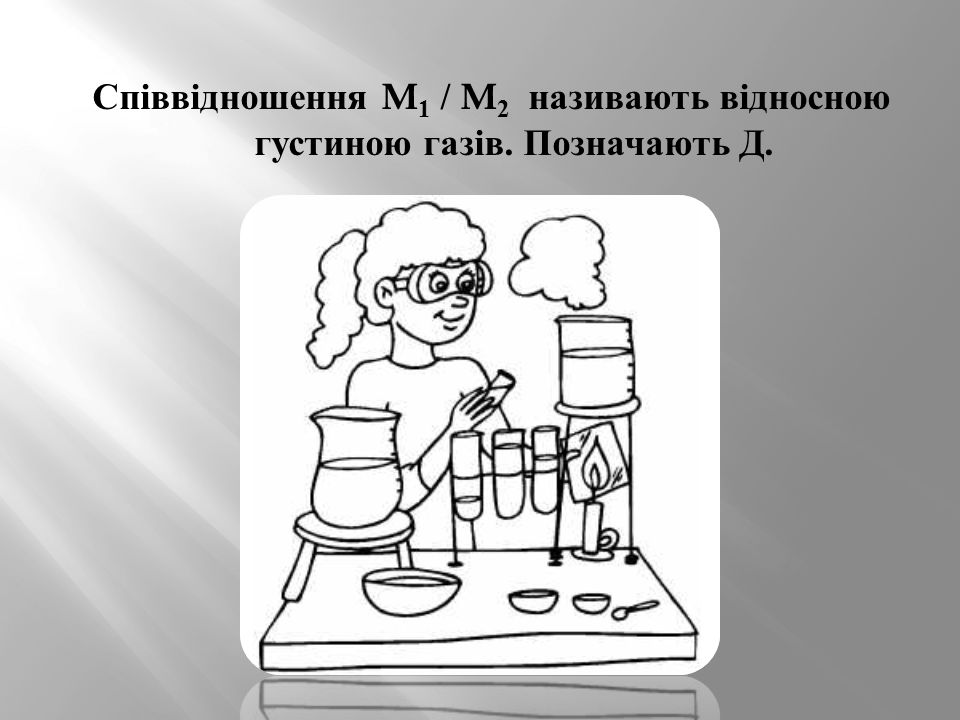 Співвідношення M1 / M2 називають відносною густиною газів. Позначають Д.