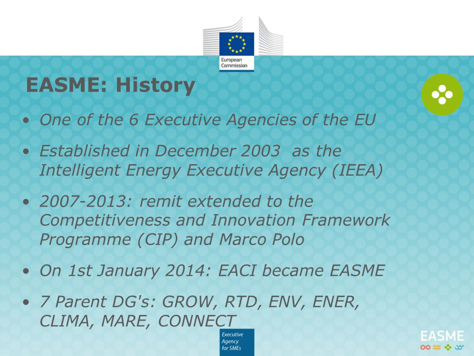 EASME: History One of the 6 Executive Agencies of the EU