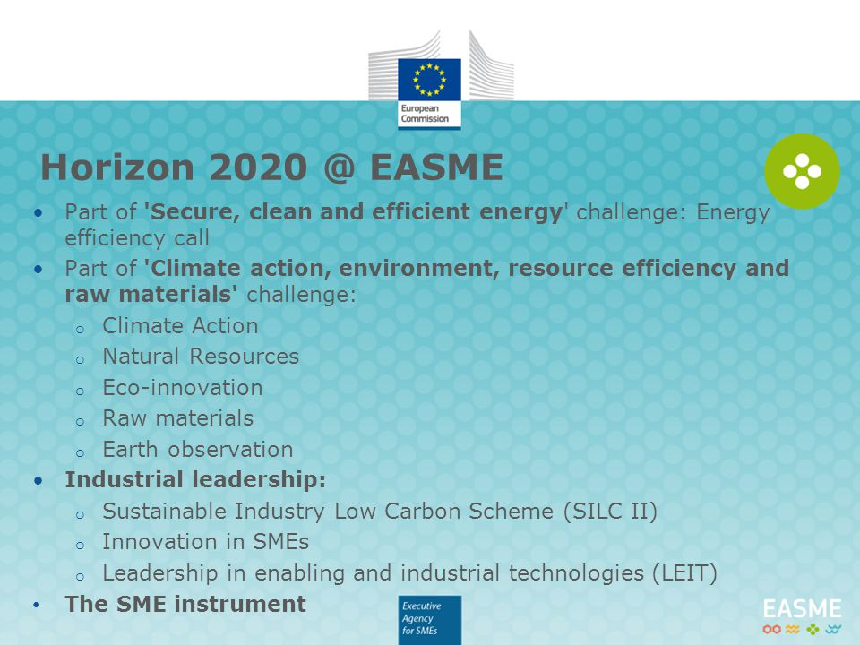 Horizon EASME Part of Secure, clean and efficient energy challenge: Energy efficiency call.