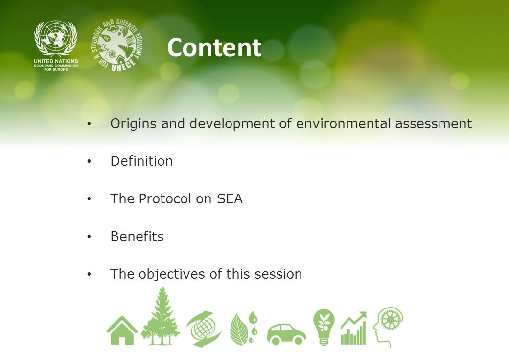 Content Origins and development of environmental assessment Definition