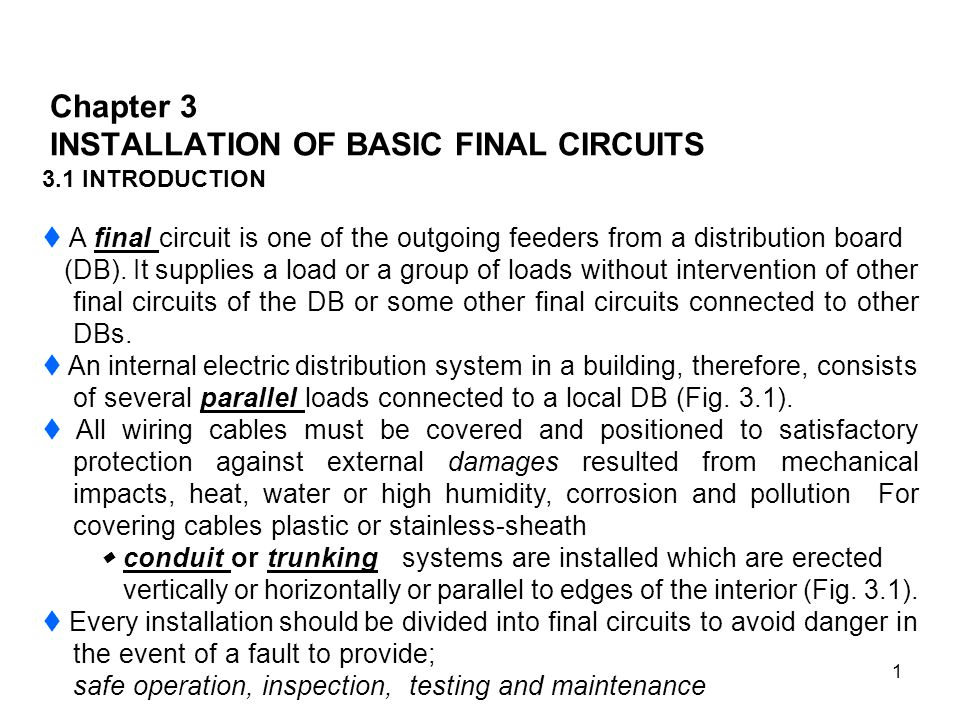 Chapter 3 INSTALLATION OF BASIC FINAL CIRCUITS