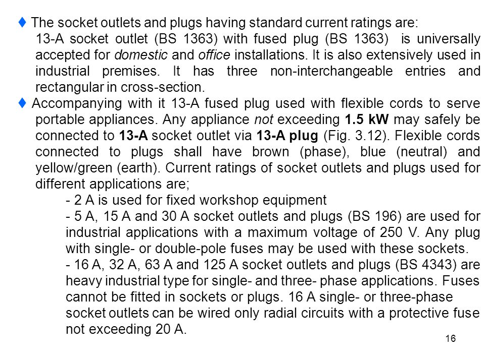  The socket outlets and plugs having standard current ratings are: