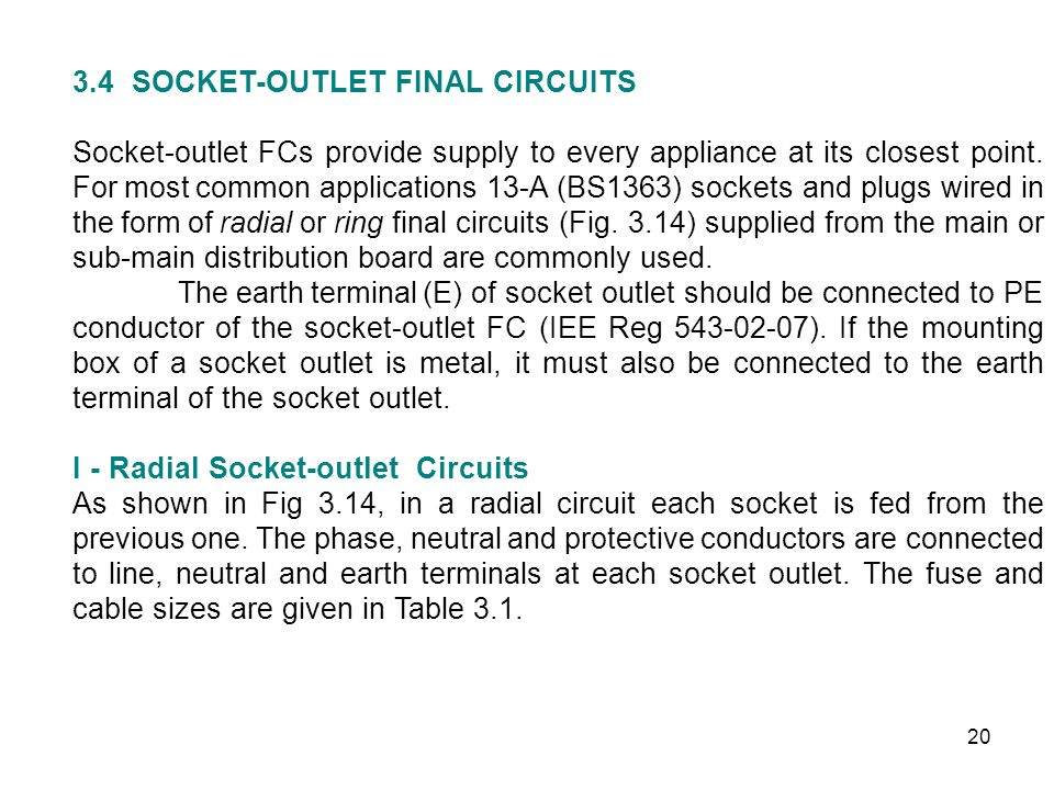 3.4 SOCKET-OUTLET FINAL CIRCUITS