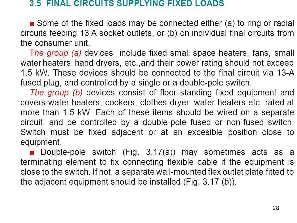 3.5 FINAL CIRCUITS SUPPLYING FIXED LOADS