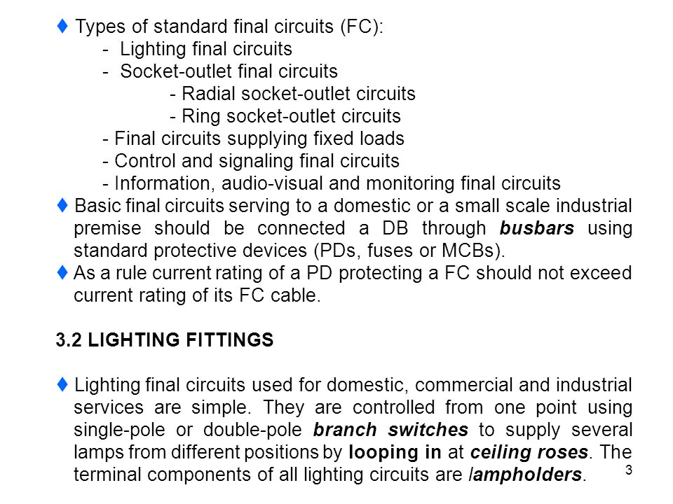  Types of standard final circuits (FC):