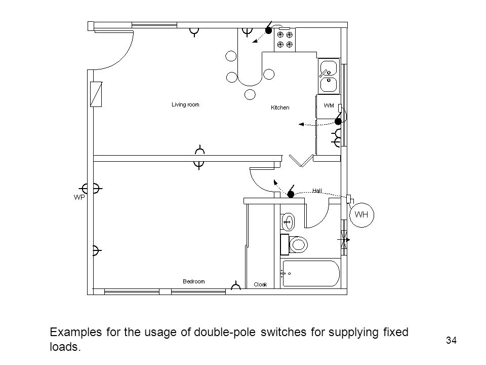 Examples for the usage of double-pole switches for supplying fixed loads.