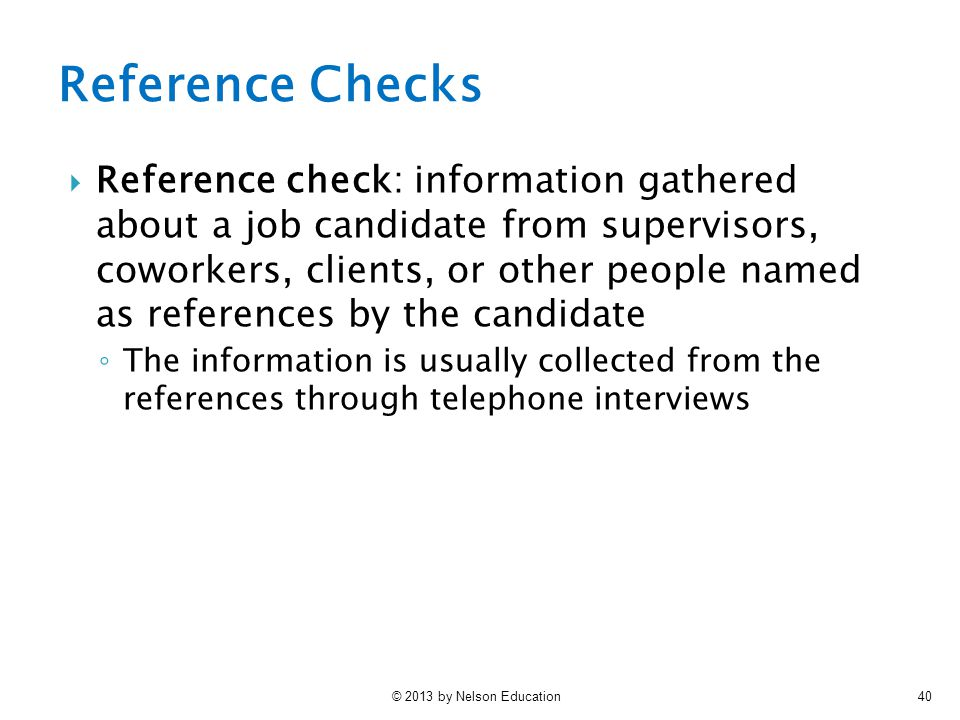 telephone reference check